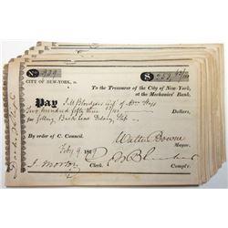 Treasurer of the City of New York at the Mechanics' Bank 1820-30's Check Grouping