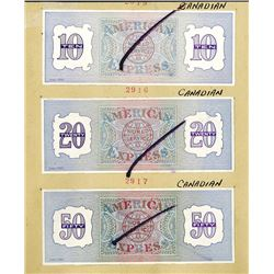 American Express Co. ca.1940-50's Uniface Traveler Check Proofs Backs.