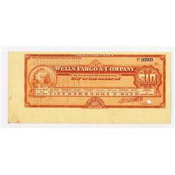 Wells Fargo & Company, 1900-1920 Specimen $10 Travelers Check
