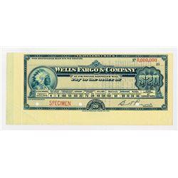 Wells Fargo & Company, 1900-1920 Specimen $20 Travelers Check