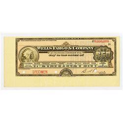 Wells Fargo & Company, 1900-1920 Specimen $50 Travelers Check
