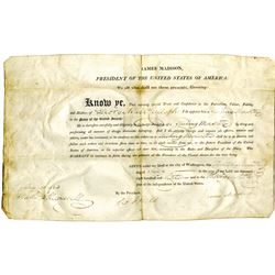 JAMES MADISON. 4th U.S. President. Partly Printed Document Signed ÒJames MadisonÓ as President and Ò