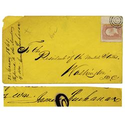 James Buchanan (1791-1868), 15th President of the United States Signed Envelope Address to him in 18