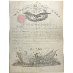 ABRAHAM LINCOLN. 16th U.S. President. Partly Engraved Document Signed ÒAbraham LincolnÓ as President