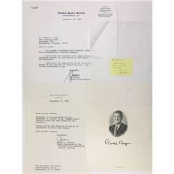 Ronald Reagan Signs Thomas Houk's Engraving of President Reagan in September 1984.