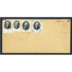 American Banknote Proof Vignette ca.1850-60's Storage Envelope with 4 Thomas Jefferson portraits.
