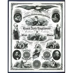 Rawdon, Wright, Hatch & Edson Bank Note Engraver's ca.1840-50's Advertising Vignette Sheet
