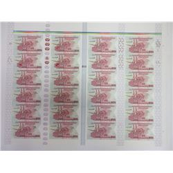 DuraNote Pioneer Polymer Banknote Uncut Advertising Notes Sheet of 24 Notes, ca.1989-94 With additio
