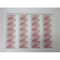 DuraNote Pioneer Polymer Banknote Uncut Advertising Notes Sheet of 24 Notes, ca.1989-94.