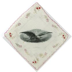 Jamestown Ter-Centennial Exposition 1907 Silk Handkerchief with Intaglio Printed Patriotic Eagle.