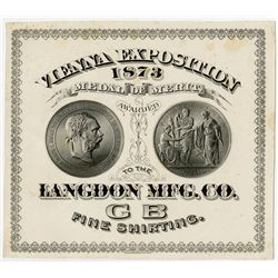 Vienna Exposition, 1873 Medal of Merit for Langdon Mfg. Co. Fine Shirting. 1873 Proof on thin Card.
