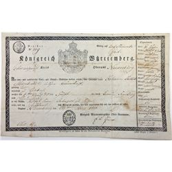 Kšnigreich WŸrttemberg. 1831. Passport / Travel Document.