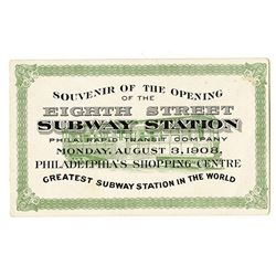 Philadelphia Rapid Transit Co., 1908, Souvenir Card