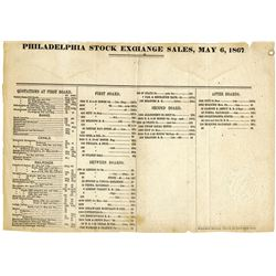 Philadelphia Stock Exchange Sale and Quotations for 1867.