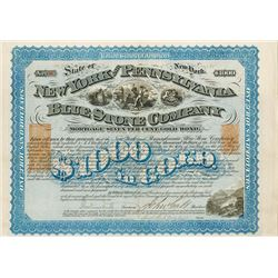 New York and Pennsylvania Blue Stone Co., 1871 $1000 Bond with Imprinted Revenue Pair.