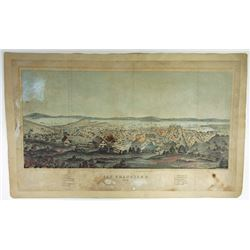 1854 San Francisco Panoramic Print of City and Harbor.