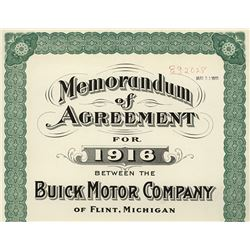 Buick Motor Company 1916 Sales Contract Specimen