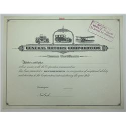 General Motors Corporation ND (ca.1920's) Specimen Bonus Certificate.