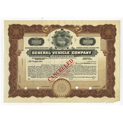 General Vehicle Co., 1900-1920s Specimen Stock Certificate