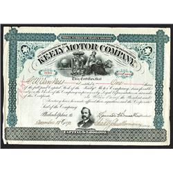 Keely Motor Co., 1893 Stock Certificate.`