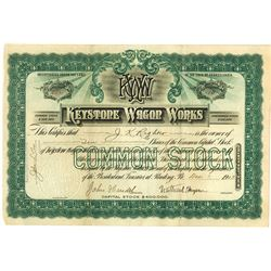 Keystone Wagon Works, 1903 Issued Stock Certificate