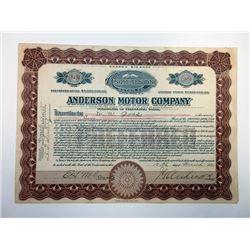 Anderson Motor Co. ca.1920 Specimen Stock Certificate - Automobile.
