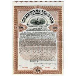 Dawson Manufacturing Co., 1901 Specimen Gold Bond Rarity.