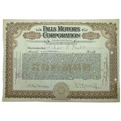 Falls Motors Corp., 1921 Stock Certificate.