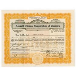 Aircraft Finance Corp. of America, 1929 Issued Stock Certificate