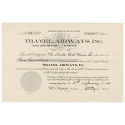Travel Airways, Inc., 1931 Issued Stock Certificate
