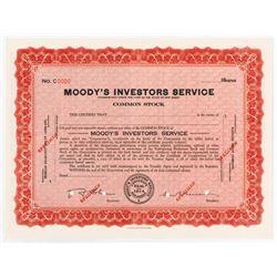 Moody's Investors Service, 1930s Specimen Stock Certificate