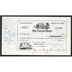 Nassau Bank. 1882 Unique Approval Proof Stock Certificate.