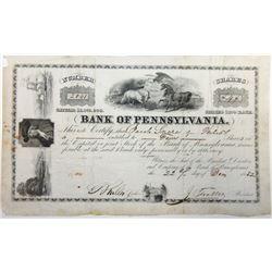 Bank of Pennsylvania, 1852 Stock Certificate.