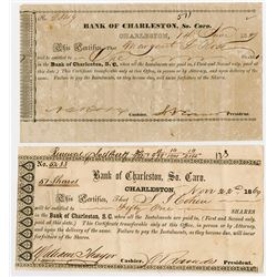 Bank of Charleston, So. Caro., 1849-1869 Pair of Issued Stock Certificates