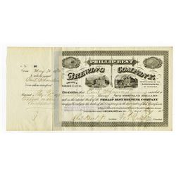 Phillip Best Brewing Co. 1873, Stock Certificate with Fred Pabst and Charles Best Signatures.