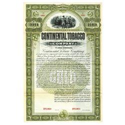 Continental Tobacco Co., ca.1900-1920. Specimen Bond.