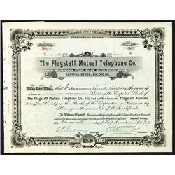 Flagstaff Mutual Telephone Co., 1907, 2 Shares I/U Stock Certificate.