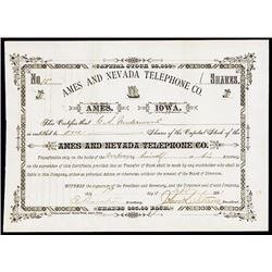 Ames and Nevada Telephone Co., 1881 Stock Certificate.