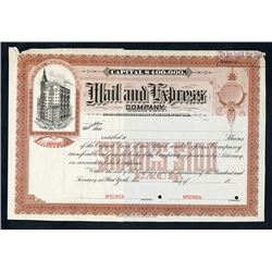 Mail and Express Co., 1890s Specimen Stock Certificate.