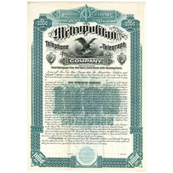 Metropolitan Telephone and Telegraph Co., 1880 Specimen Bond