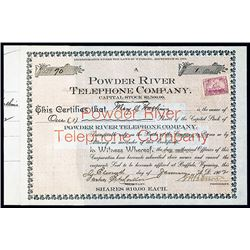 Powder River Telephone Co. 1902 Stock Certificate.