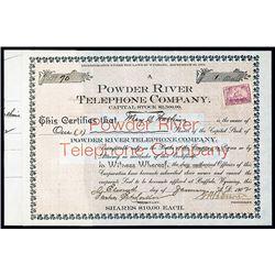 Powder River Telephone Co. 1902 Stock Certificate.