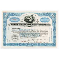 Western Tablet & Stationery Corp., 1920-1940's Specimen Stock Certificate