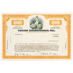 Viacom International Inc., 1970s Specimen Stock Certificate