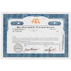 McDonald's Corp., 1950-1960 Production Specimen IPO Stock Certificate Rarity