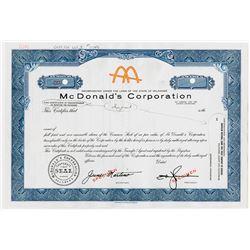 McDonald's Corp., 1950-1960 Production Specimen IPO Stock Certificate Rarity