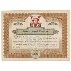 Vitomen Cereal Co., 1926 I/U Stock Certificate.
