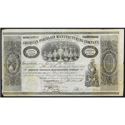 American Porcelain Manufacturing Co., 1854 Unique Issued Stock Certificate.
