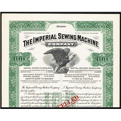Imperial Sewing Machine Co. 1910-20 Specimen Bond.