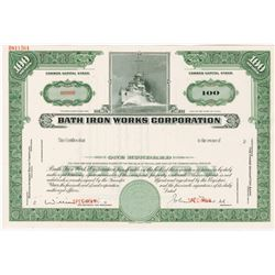 Bath Iron Works Corp., 1950s Specimen Stock Certificate